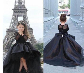 2018 Long Sleeves Little Girls Pageant Dresses Black High Low Jewel Flower Girl Dresses For Teens Formal Holy Communion Dresses