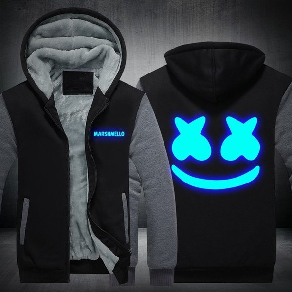 Acheter Xijun USA TAILLE Marshmello Luminous Glowing Sweat À Capuche Hommes Sweat À Capuche Molleton Épaissir Hip Hop À Capuche Zipper Vestes D'hiver