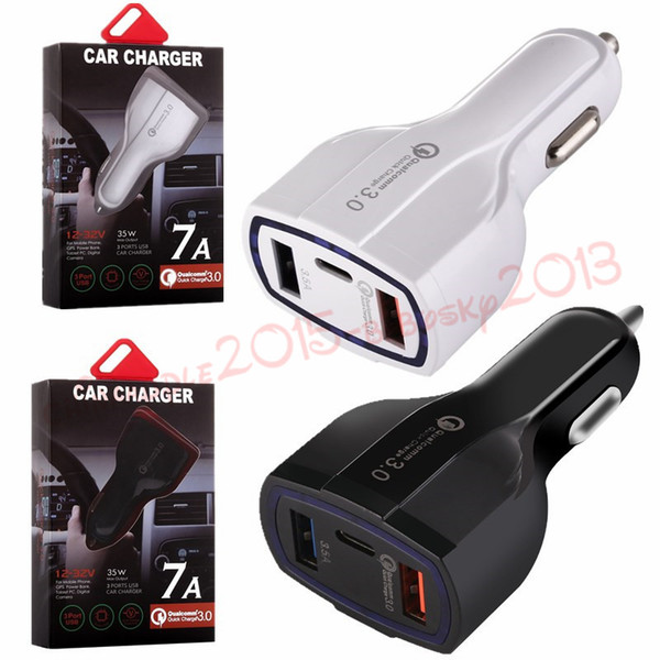 3 Usb Ports Type c car charger fast quick charging auto power adapter 35W 7A car chargers for ipad iphone 8 x samsung s7 s8 android phone
