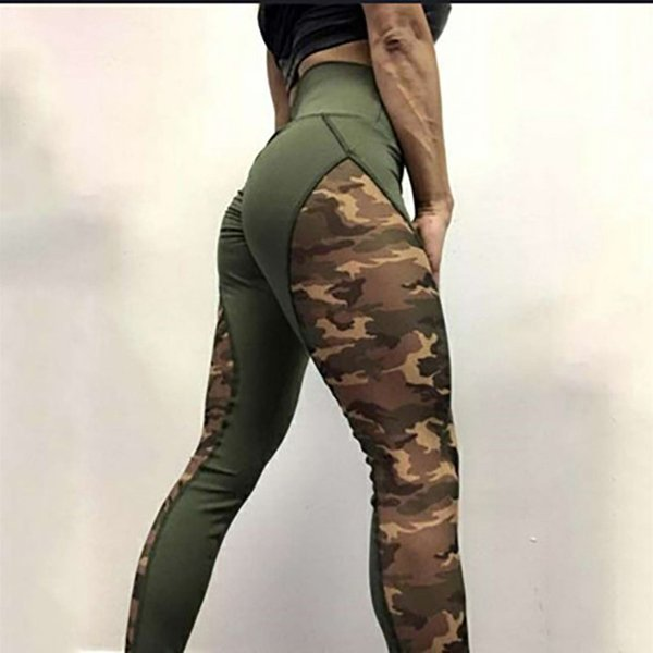 fc3eb39c63b46 Patchwork Print Camouflage Leggings Women High Waist Sporting Fitness Leggings  Sexy Push Up Pants Military Camo