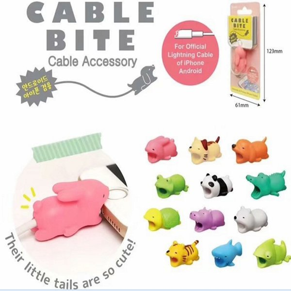 Expédition rapide Cable Bite Charger Cable Protector Savour Cover pour iPhone Lightning Cute Animal Design Cordon de charge de protection