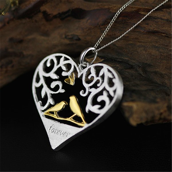 Lotus Fun Real 925 Sterling Silver Handmade Fine Jewelry Romantic Bird in Love Heart Shape Pendant without Chain for Women