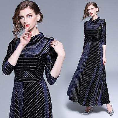 Nice Velour Materials blending Long Dress of Women's Fashionable in Autumn and Winter,Striped Beauty Skirts,Lapel Neck,Long Sleeve