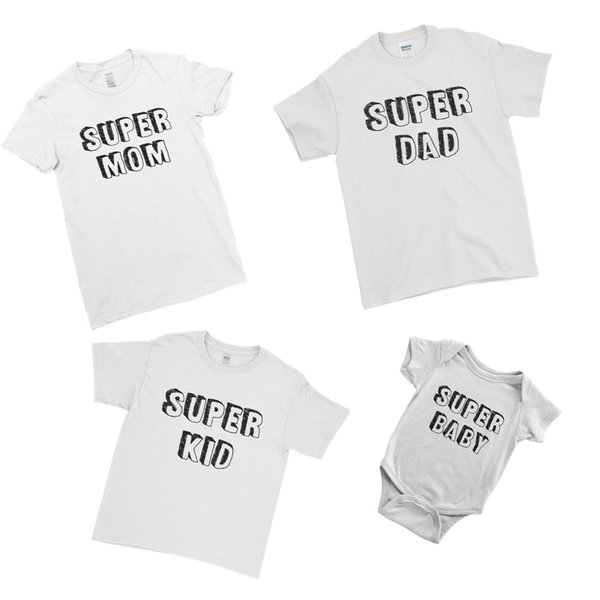 Super Dad Mom Baby Bodysuit First Father's Matching Family Couple Team T-Shirt Cool Casual pride t shirt men Unisex New Fashion