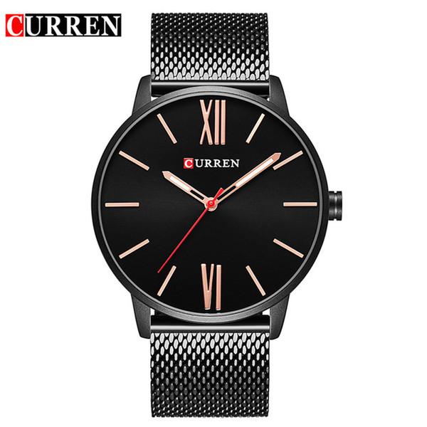 Curren marca 2018 encabeça minimalismo minimalista de luxo de quartzo relógios de pulso para homens relogio masculino preto / ouro de aço inoxidável 8238
