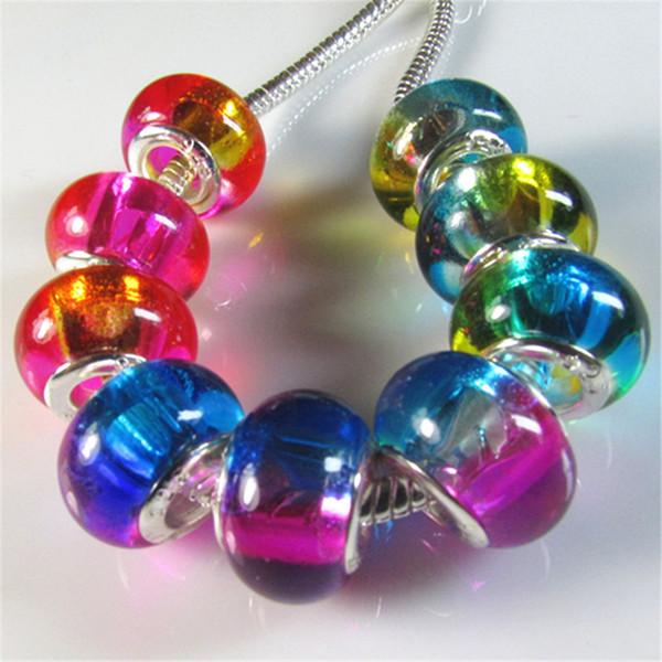 100 pcs / lot New Arriver Double Couleur Changement Graduel Grand Trou Perles De Charme Fit Bracelet Européen Slide Spacer Perle De Verre Transparent