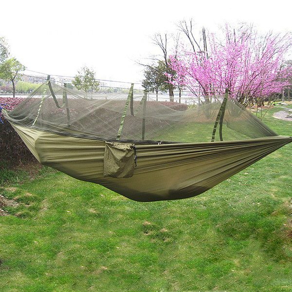 Portable 1-2 Person Outdoor Hammock Camping Hanging Sleeping Bed With Mosquito Net Garden Swing Relaxing Parachute Hammock