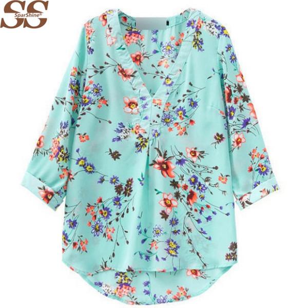 La nuova camicetta di chiffon del collo del v del 2015 ha stampato le camicette casuali delle donne allentate del fiore del manicotto 7/10 delle donne blusa blusa feminina