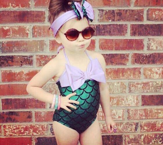 top popular Lovely Mermaid Toddler Girls Kids Bikini Infant Baby Girls Summer Swimwear Bowknot Swimming Bathing Swimsuit Headband Costume 2021