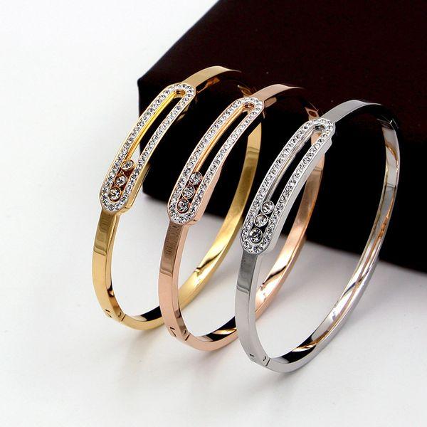 Fashion most hot sell exquisite simple style Slidable three-diamond bracelet 18K gold three-diamond sliding ladies bracelet
