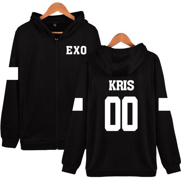 WBDDT EXO Men Zipper Hoodies Back Print Fan Jacket Turn-down Collar Cotton Sweatshirt Hip Hop Hoody New Outerwear Drop Shipping
