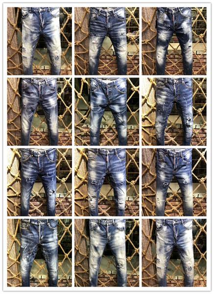 2018 Distressed Ripped New Style Men's Denim Jean Pants Holes Biker Jeans For Men Hip Hop Button Trousers Print 9198