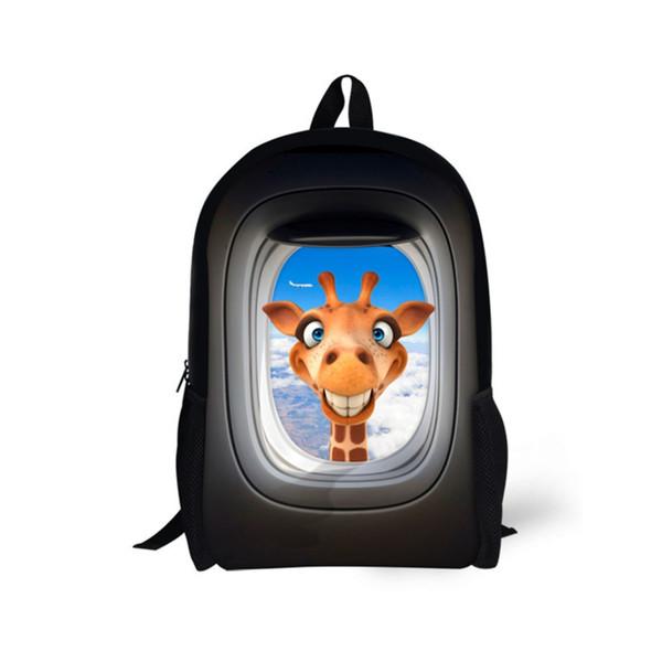 3D Backpacks School Bags for Teenage Girls Boys Funny Giraffe Horse Animals Printing Student orthopedic BookBag Infantis