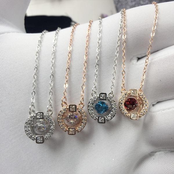 Collana di cristallo di marca placcata oro rosa 18 carati con collana rotonda di cristallo ciondolo clavicola con regalo di gioielli di perforazione flash
