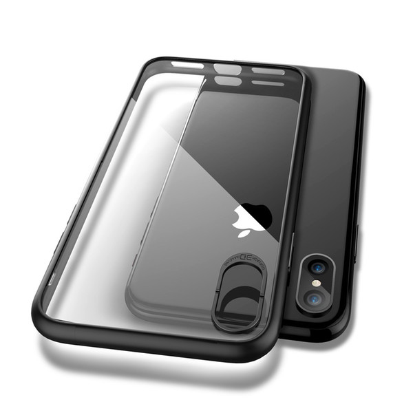 .For iPhone X Clear Phone Cases,Flexible Back Soft Silicone Color Side UltraThin Cover Shockproof Protect Case for Apple iPhone X