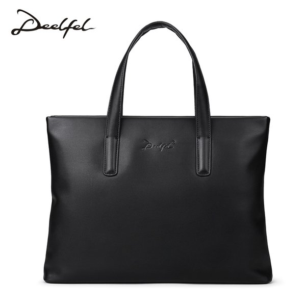 Deelfel Top Sell Fashion Simple Dot Famous Brand Business Men Briefcase Bag Casual Man Bag Leather Laptop Shoulder Bags