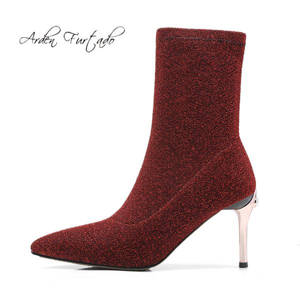 Arden Furtado 2018 spring autumn slip on stilettos high heels 9cm glitter sequined cloth silver burgundy black Stretch boots new