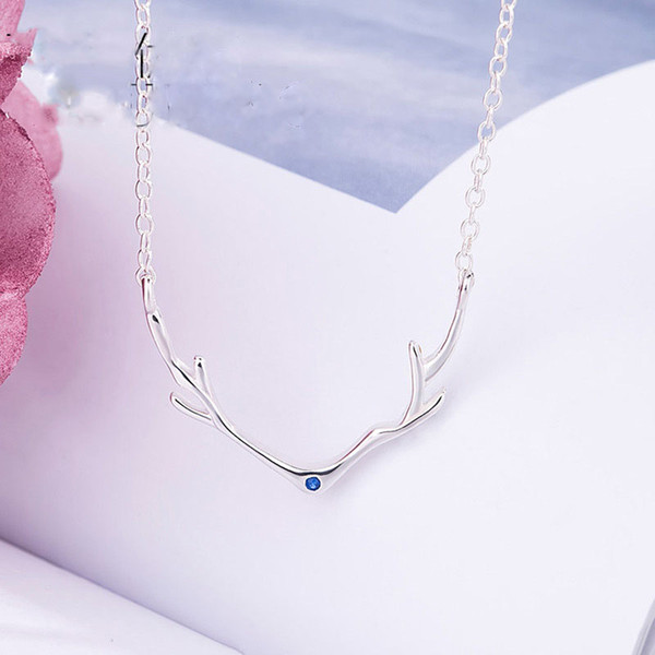 """925 Sterling Silver with Cubic-Zircon Deer Elk Antlers Pendant Collar Necklace Chain 18"""" Premium Rhodium Plated Christmas Gift"""