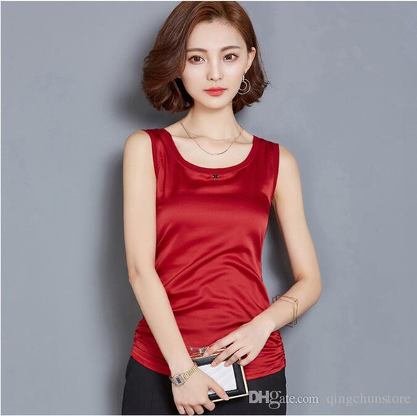 2018 summer new tops & tees classic outer wear female top sling female vest female loose large size sleeveless bottoming shirt
