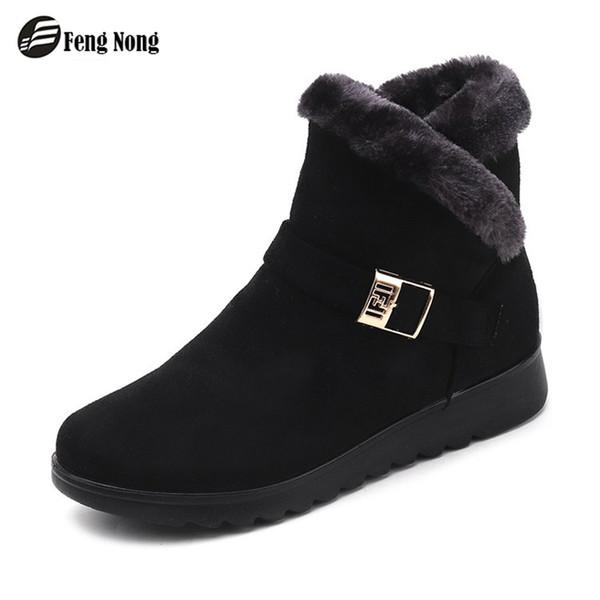 Fengnong Femmes Bottes Boucle Boucle Plantform Mignon Simple Smart Chaussures Bottes D'hiver Fille Talon Plat Hiver Bottes De Neige WBT150