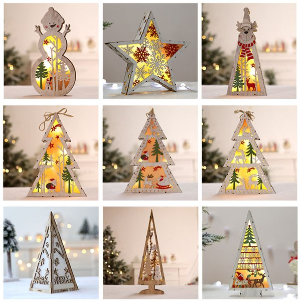 Led Christmas Tree Wooden Lighted Tree Decoration For Christmas Party Home Decor Desktop Window Hanging Pendant Gift Hh7 1844 Cheap Christmas Outdoor