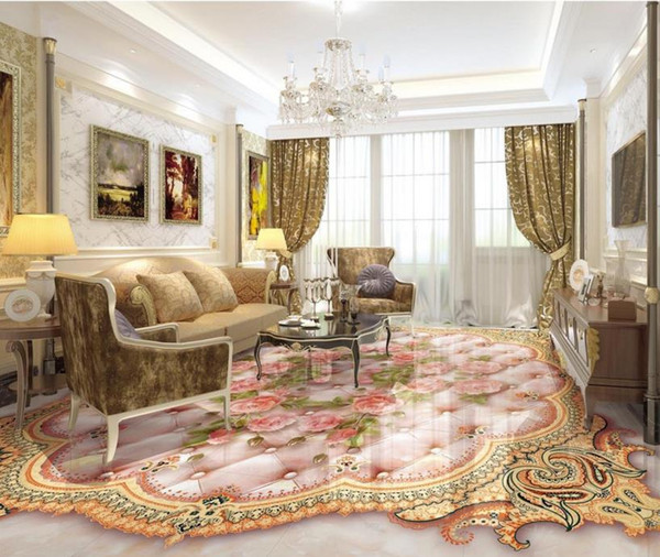 custom 3d wallpapers for living room pvc floor Rose soft bag marble relief floor soundproofing 3d mural wallpaper