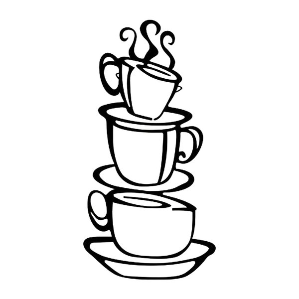 Coffee Cups Wall Sticker House Room Store Decor Fashion Personality Creative Classic Attractive