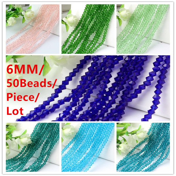 6MM 50Beads/Piece/Lot Faceted Bicone Crystal Spacer Beads DIY Jewelry Accessories Blue/Lake Blue/Peacock Blue/Green/Light Green/Pink