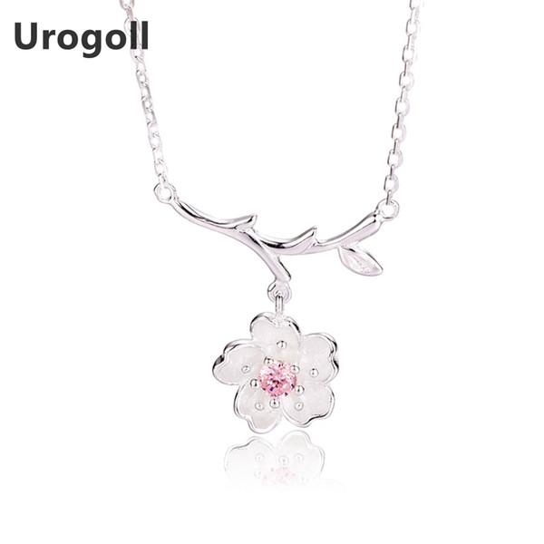 Venta caliente 925 Collar de Plata Esterlina de Cristal Rosa Flores de Cerezo Colgantes de Flores Collares Encantador Romántico Joyería de Las Mujeres