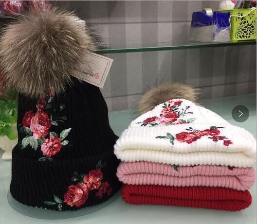 andare online super carino l'ultimo Acquista Cappello Invernale Femminile Moda Ricamo Fiore Lavorato A ...