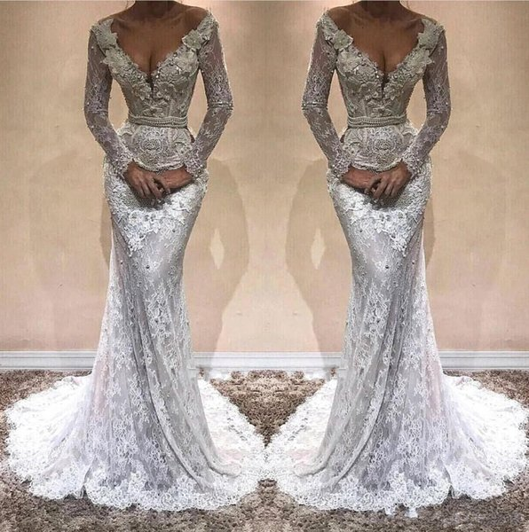 2018 Sexy Deep V Neck Long Sleeves Lace Mermaid Evening Dresses Applique Beaded Stones Sweep Train Formal Party Prom Gowns Vestidos BA9809