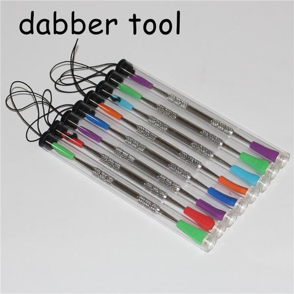 100 pcs Dabbers De Cera dabbing ferramenta com dicas de silicone 120mm dabber ferramenta de aço inoxidável ferramenta de limpeza de tubos de aço e tubos de plástico
