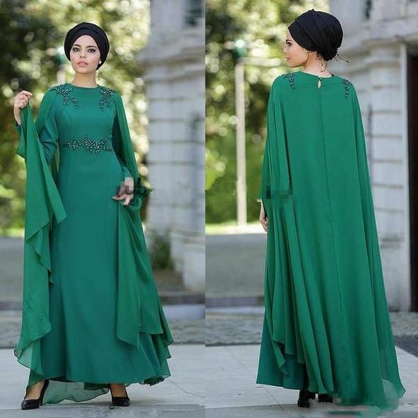 Saudi Arabia Cap Style Prom Dresses Green Chiffon Beaded Long Sleeves Evening Gowns Floor Length Women Formal Party Dress 2019