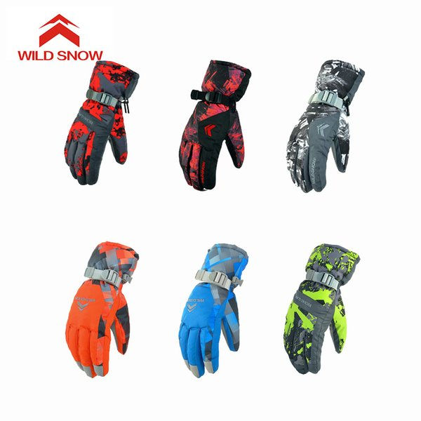 Wild Snow Winter Ski Gloves Waterproof Thermal Women Man Gloves Snowboard Snowmobile Motorcycle Outdoor Sports 6 Colors