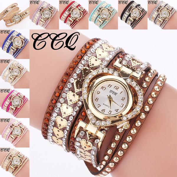 YOYO femmes bracelet en diamant montre en gros rétro vintage dames de coeur dames colorées en cuir robe quartz femmes montres cadeaux seulement pour vous