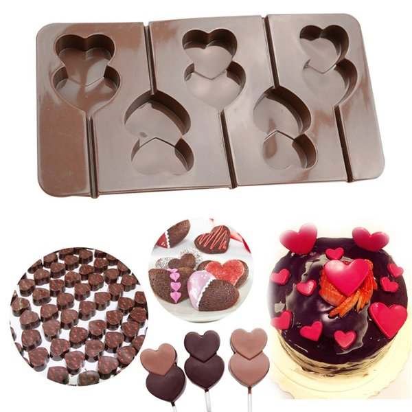 Kitchen Accessories Cake Tools Silicone Cake Mold Double Heart Lollipop Shape Soap Mold Pastry Chocolate Stencils Bakeware