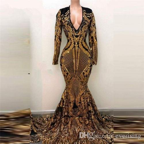 Gold Sequined Mermaid Long Sleeve Evening Dresses Long 2018 Sexy Prom Party Dress Gowns Robe de Soiree