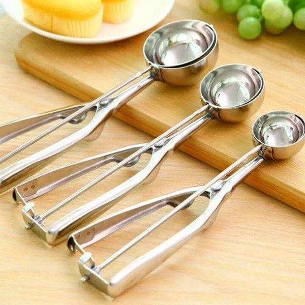 Stainless steel ice cream scoops home metal fruit spoon cookies spoon ball maker cooking tool LX3383