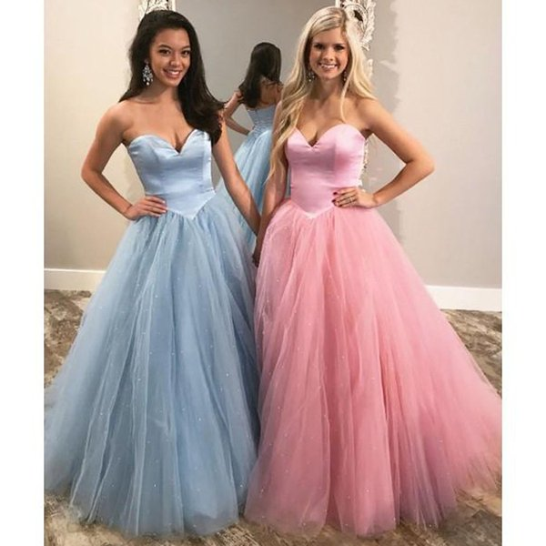 ZYLLGF 2018 Lovely Tulle A Line Prom Dresses Sweetheart Lace Up Floor Length Evening Dresses Long Prom Gowns Custom Made