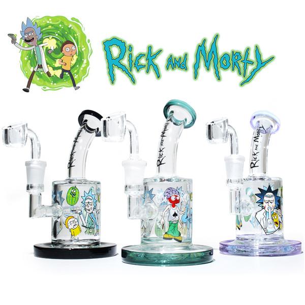 Glas-Bong-Ölbohrinsel Rick Morty Water Bongs weiblich 14,5-mm-Tupfeanlagen mit Quarzknaller