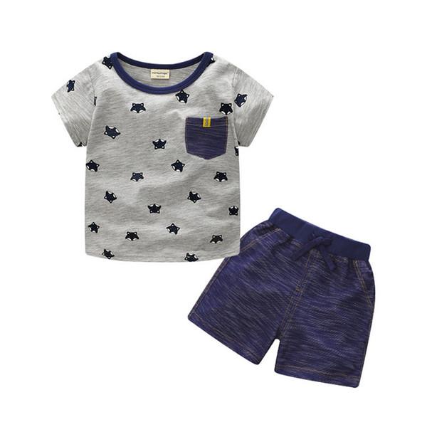 Summer Boy INS Whale Hat Stripe Suit New Children Cartoon Dinosaur Ins Short Sleeve T-shirt +shorts 2 Pcs Suit Baby Clothes