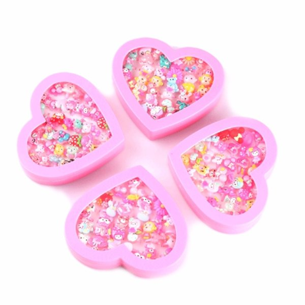 36pcs/Set Children Girls' Cartoon Rings Kids Rings for Girls Flower Cartoon Animal Ring Finger with Heart Display Box