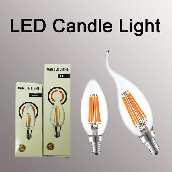 Светодиодная свеча лампа 2 Вт 4 Вт 6 Вт C35 светодиодная лампа ретро Эдисон нить Bombillas AC 110 В 220 В высокий люмен люстра лампы