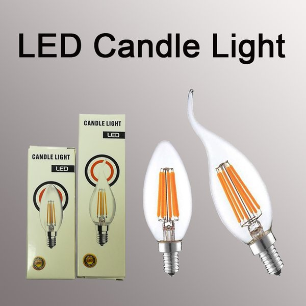 Vela LED Lâmpada 2 W 4 W 6 W C35 LED Lâmpada Diodo Retro Edison Filamentos Bombillas AC 110 V 220 V Lumen Lustre Lâmpada