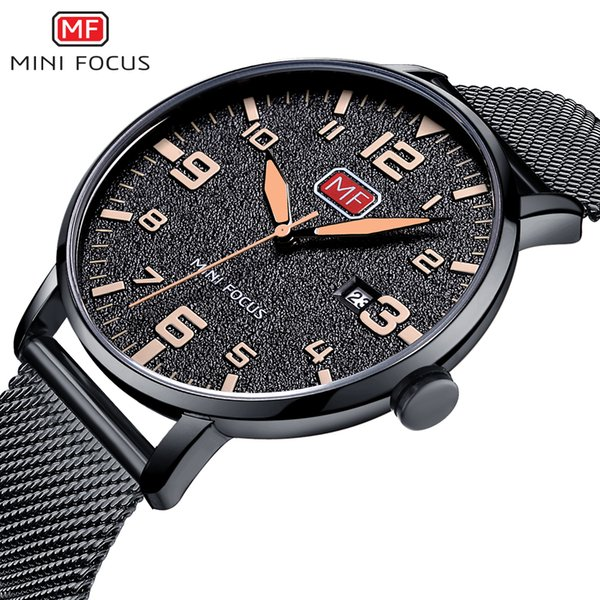 MINIFOCUS Business Steel Band Mens Quartz Wristwatch Ultrathin Men Waterproof Calendar Gift Watch Luxury Relogio Masculino MF0158G