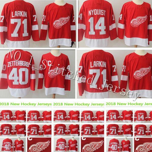 best service a76ca 4c17f 2019 2018 New Detroit Red Wings Jersey Men'S #71 Dylan Larkin 14 Gustav  Nyquist 40 Henrik Zetterberg Hockey Embroidery Jerseys From ...