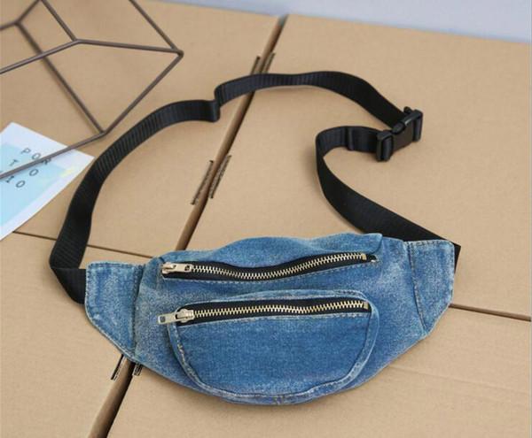 2018 New Personal Women Demin Plain Casual Waist Fanny Pack 2colors Cowboy Top Zipper Chest Bags Waist bags
