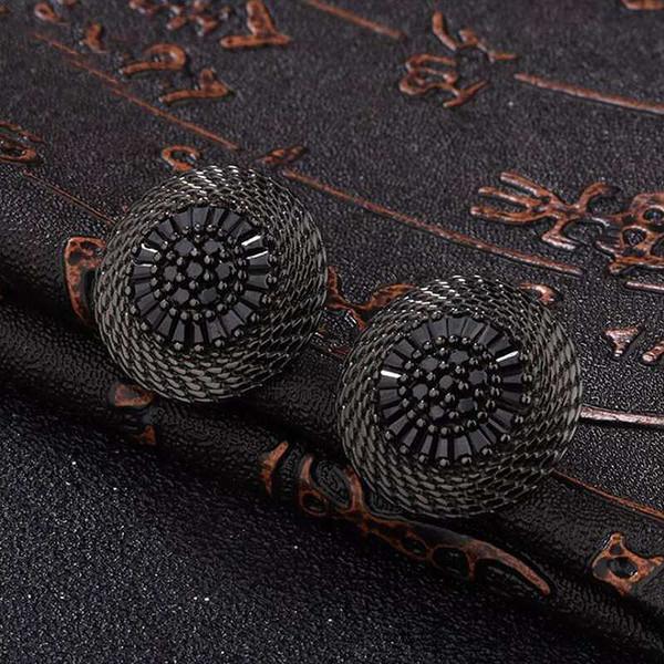 Ruifan Bohême Noir 925 Boucles D'oreilles en Argent Sterling avec Pierre Nouveau Design Verre Grand Boucles D'oreilles pour les Femmes Partie Bijoux YEA165
