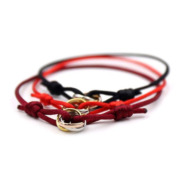 Klasik Charm Bilezikler Kırmızı Dize El Işi Makrome Halat Bilezik Küp Mikro üç daire Zirkon aşk Bilezik Kadın Adam Takı