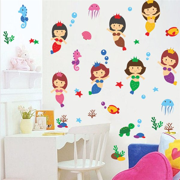 all stickers for kids Cartoon Underwater Princess Fish Tortoise Wall Stickers For Kids Rooms Decal Bedroom Bathroom Decor Art Mural Girls...